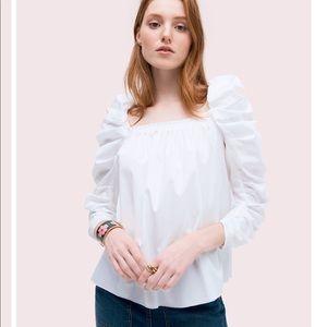 Kate spade square neck poplin blouse